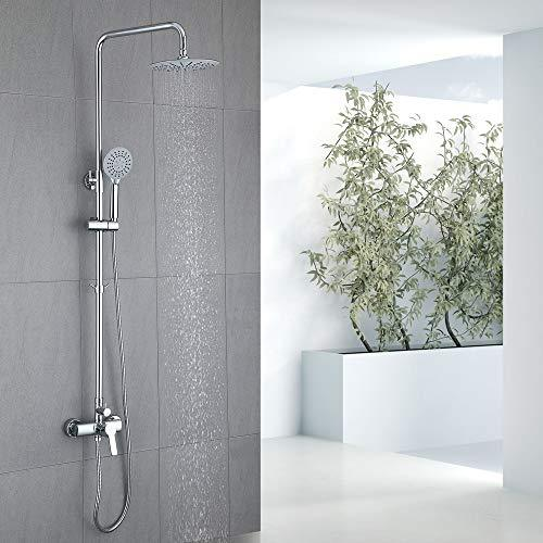 "HOMELODY Mixer Shower 2-Way Shower System with 9"" Overhead Shower and 3 Function Handheld Shower Bathroom Shower Set Adjustable Shower Rail Chrome"