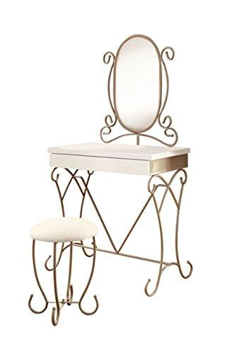 HOMES: Inside + Out ioHOMES Elouise Princess-Inspired Mirror/Vanity Set, Champagne/White