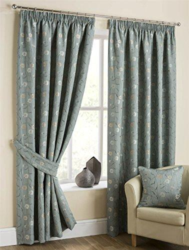 "Homescapes Duck Egg Blue Pencil Pleat Jacquard Curtains Pair 117cm (46"") Wide x 182cm (72"") Drop Classic Chintz Small Floral Tapestry Design"