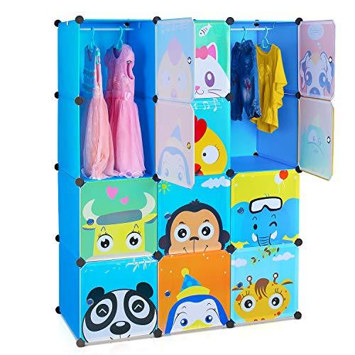 HOMFA 12-Cube DIY Cabinet Storage Unit Organiser for Kids Stackable Plastic Cube Shelves Multifunctional Modular Cupboard Wardrobe with Cute Animal Cartoons on Doors Blue (110 x 46.5 x 145 cm)