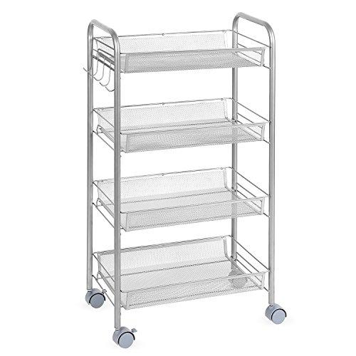 HOMFA Multipurpose Metal Mesh Carts Rolling Storage Rack Sturdy Serving Trolley for Home Kitch Office (4 Tier, Silver)