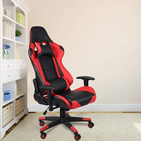Homgrace Office Desk Chairs Gaming Chair Swivel Recliner Comfort Upholstered Racing Sport Style Chair for PC Tilt High Back with Adjustable Head/Neck & Lumbar Pillows T-Arms,Red & Black