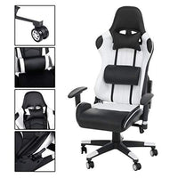 Homgrace Office Desk Chairs Gaming Chair Swivel Recliner Comfort Upholstered Racing Sport Style Chair for PC Tilt High Back with Adjustable Head/Neck & Lumbar Pillows T-Arms,White