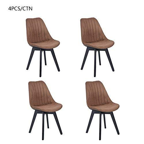 HOMY CASA Set of 4 Fabirc Mid Back Support Kitchen Dining Chairs Ergonomic Dining Table Chair Leisure Coffee Chair Stool for Living Room, Indoor Outdoor (Brown)