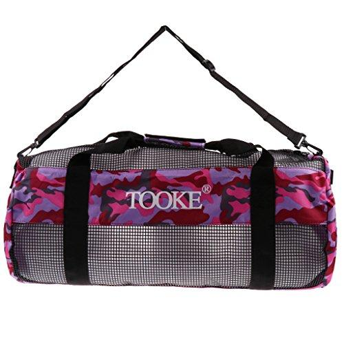 Homyl Large Capacity Scuba Diving Snorkeling Swimming Surfing Boat Mesh Gear Bag Fins Flippers Wetsuit Carry Holdall Shoulder Backpack - Purple Camo