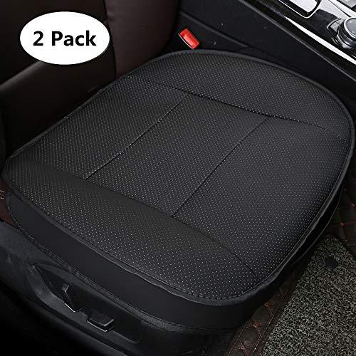 HONCENMAX Luxury Car Seat Cover Cushion Pad Mat Protector for Auto interior Supplies for Sedan SUV PU leather 3D Edge Wrapping Protection Cover Without Backrest - 2 Pack Black