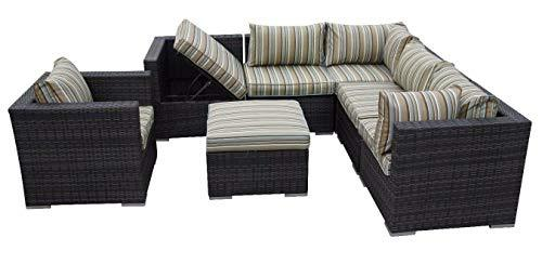HongTeng Luxury Rattan Sofa Garden Furniture Courtyard Greenhouse Wicker Outdoor (color : A)