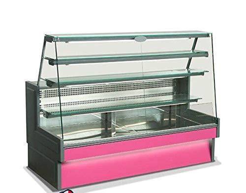 Horizontal refrigerated display cabinet slanted straight glass - Temp. +3/+5°C - Depth 87.6 cm Height 143.2