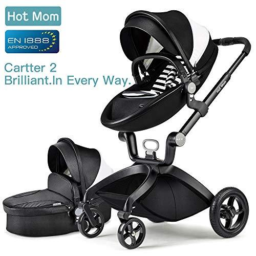 Hot Mom Pushchair 2018, 3 in 1 Baby Stroller Travel System with Bassinet (Black)