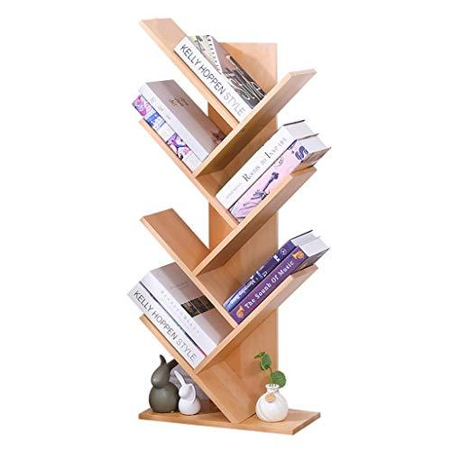 Household Wooden Bookshelf Creative Tree-shaped Bookshelf Environmental Bedroom Bookshelf Children's Room Bookshelf The Smallest Footprint, Super Load-bearing ( Color : WOOD , Size : 44*21*107CM )