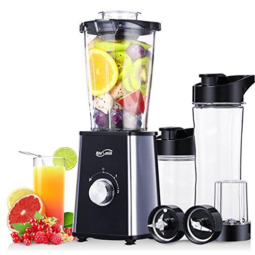 Housmile Blender, Mixer & Food Processor, Ice Crusher Grinder & Juicer, 1.2L Smoothie Jug, 600ml and 400ml 2 Travel Cups, 200ml Grinding Cup, 4 in 1 Smoothie Maker, 300W