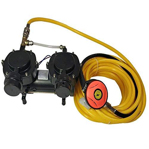 HPDAVV 12V Air Compressor for Snorkeling,Hookah Dive Compressor,Oil-Less Diaphragm Pump,50ft Hose & Respirator,Direct Breathing,Operational Video