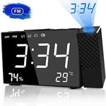 HQQNUO Projection Alarm Clock Digital Alarm Clock 20 FM Radio 6.3'' Bedside Projection Clock with Dual Alarms, Snooze Function UK Plug 12/24 Hour for Bedroom, Home, Office