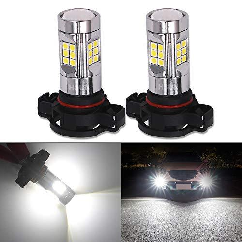 HSUN PSX24W LED Bulbs,Built in Canbus Error Free System with 30LED-SMD3030 Chipsets Extremely Bright Bulbs,12V-24V For Car Fog Light,2 Pack,6000K White