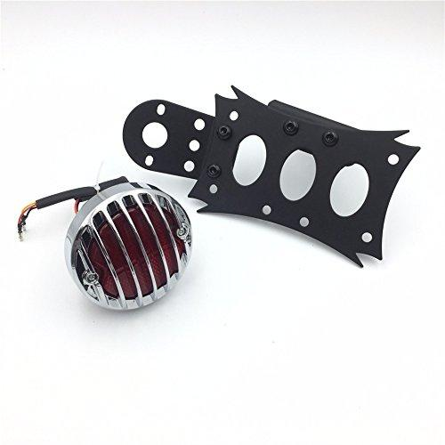 HTT Motorcycle Black Horizontal Vertical Zigzag Style Side Mount License Plate Bracket 7x4 Chrome Round LED Tail Brake Light Integrated For Harley Touring Bobber Chopper Honda Kawasaki Suzuki Yamaha
