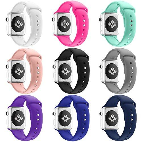 HUANLONG Apple Watch 38MM Band, HuanlongTM New Soft Silicone Sport Style Replacement Iwatch Strap for Apple Wrist Watch (9 colors/bundle 38mm M/L)