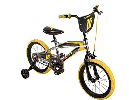 Huffy 16-inch Kinetic Boys' Bike, Ideal for Ages 4-6, Rider Height 42-48 inches, Two-Toned Wheels, Durable Steel Frame, High Gloss Chrome, Racing Graphics, Style 21828