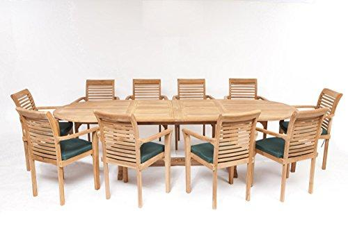 Humber Teak Antibes Giant 10 Seat Grade A Teak Garden Dining Patio Set 10 Foot Table 10 Stacking Chairs Over