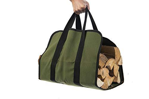 Hyindoor Firewood Carrier Canvas Log Tote Bag Carrier Fireplace Wood Stove Accessories Storage Bag Green