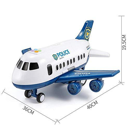 IBalody Creative Kids Toys Combat Aircraft Set Die-cast Toy Alloy Pull Back Space Shuttle Electric Airplanes Model Civil Aviation Airbus LED Lights Aircraft (Color : Blue)