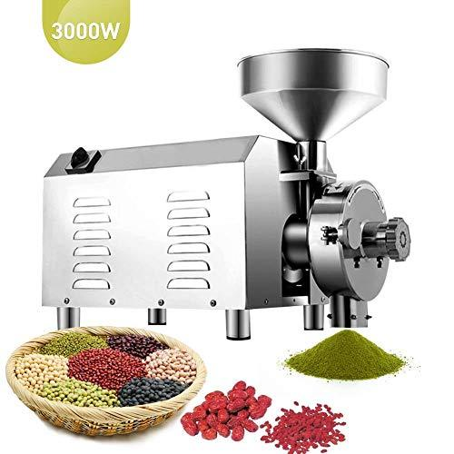 IDABAY Grain Grinding Machine Grinder Flour Mill High Productivity(30-60 kg/h) High Power Stainless Steel Commercial Grinding Miller Machine for Sugar Pepper Ormosia Soybean Coffee (3000W)