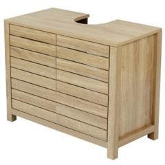 Ideal Light Oak Slatted Bathroom Under Basin Floor Cabinet H60cm W60 D30