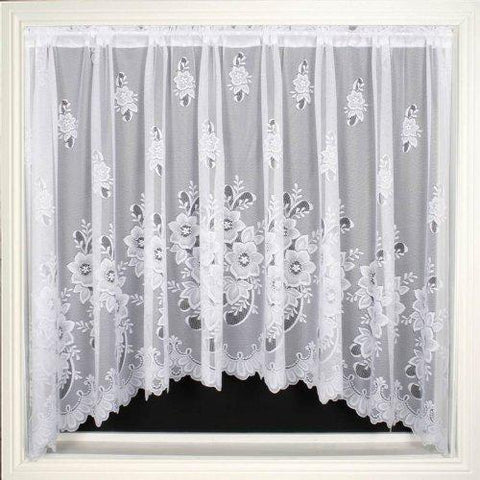 "Ideal Textiles New York White Lace Jardiniere Net Curtain Panel 200"" x 48"""