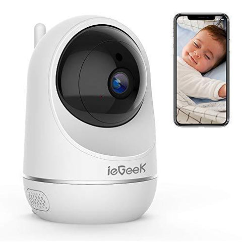 ieGeek 1080P WiFi Camera Baby Pet Monitor, Smart Wireless Indoor IP Camera with Baby Crying Detection, Motion tracking, HD Night Vision, CCTV Security Surveillance System - Cloud Service Available