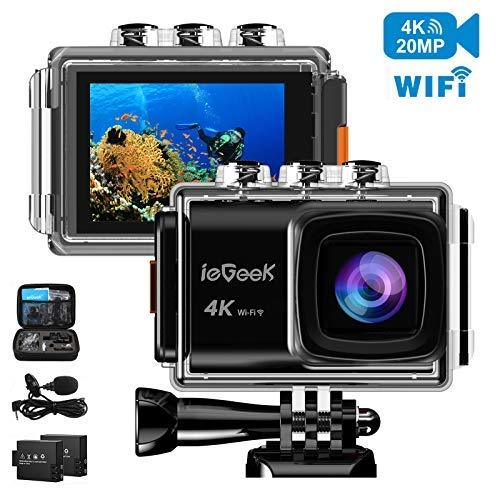 ieGeek Action Camera 20MP 4K WiFi Sports Cam Ultra HD Waterproof Camera 98ft Underwater DV Camcorder 170° Wide-Angle with EIS Sony Sensor/External Mic/2 Batteries/Carry Case/Mounting Accessories Kit