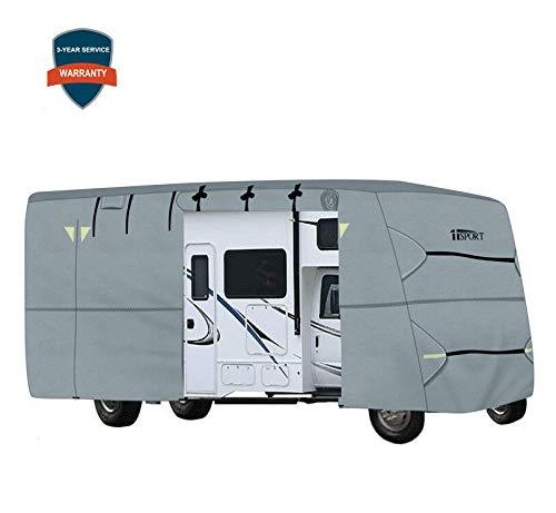 iisport Extra-Thick 4-Ply Top Panel Class C Motorhome RV Cover Fits 26'- 29' Long Zipper Access Ripstop Anti-UV RV Covers w/Air Vent System