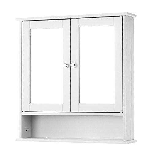 iKayaa Double Door Mirrored Bathroom Cabinet Wall Cabinet Shelves Storage Cupboard Kitchen Furniture White