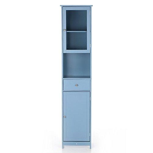 IKAYAA Tall Bathroom Cabinet Storage Unit Tallboy Cabinet Free Standing Cupboard Wooden Floor Cabinet Blue