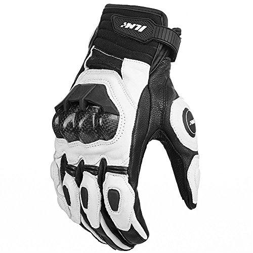 ILM Air Flow Leather Motorcycle Motorbike Gloves For Men and Women (M, WHITE)