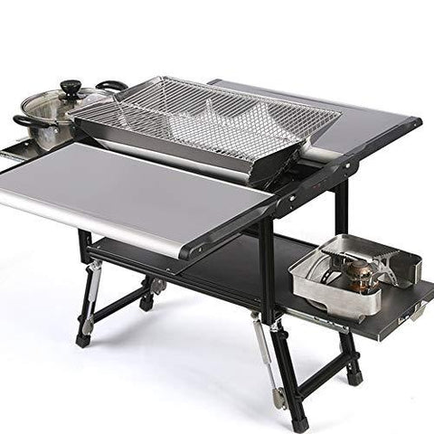 ILUVBBQ BBQ Grills Outdoor Folding Multi-purpose Charcoal Barbecue Grill 5-7 Person Camping Roasting Kebab Large Folded Grill Stove