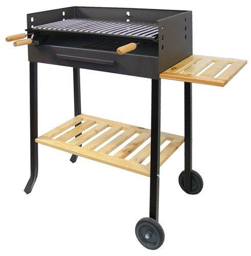 IMEX EL ZORRO 71450 – Barbecue with Wheels and Stainless Steel Grill, 88 x 68 x 40 cm, Black