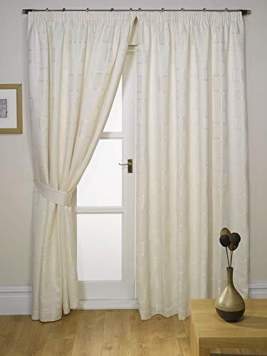 Impressions Milano Natural Fully Lined Readymade Curtain Pair 46in Wide x 90in Drop Approximately (116x228cm) Including One Pair Of Co-Ordinating Tiebacks.