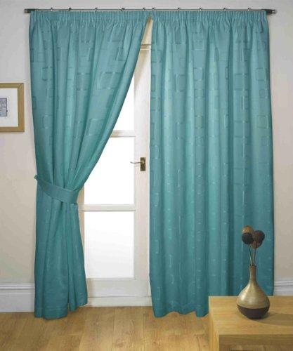Impressions Milano Teal Fully Lined Readymade Curtain Pair 90in Wide x 72in Drop Approximately (228x182cm) Including One Pair Of Co-Ordinating Tiebacks.