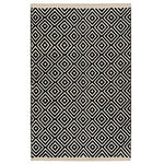 Indian Arts Fair Trade Diamond Weave 100% Cotton Handloom Rug with Stitched Finished edging (Black, 120 x 180cm)