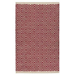 Indian Arts Fair Trade Diamond Weave 100% Cotton Handloom Rug with Stitched Finished edging (Red, 90 x 150cm)