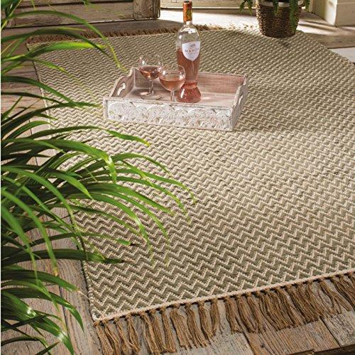 Indian Arts Fair Trade Handloom Zig Zag weave cotton rug, 100% cotton with Fringe edging (120 x 180cm) (Sage)