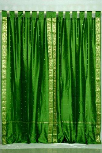 Indian Selections Forest Green Tab Top Sheer Sari Café Curtain/Drape/Panel - 43W x 24L - Pair