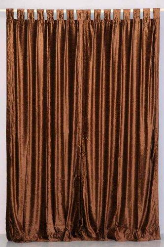 Indian Selections Lined-Brown Tab Top Velvet Curtain/Drape / Panel - 43W x 84L - Piece