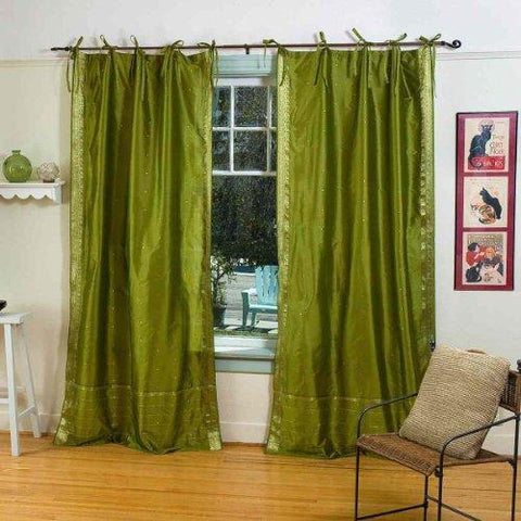 Indian Selections Olive Green Tie Top Sheer Sari Curtain/Drape/Panel - 43W x 108L - Pair