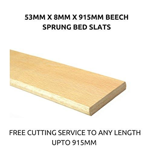 Individual Replacement Beech Sprung Wooden Bed Slats 53mm x 8mm x 915mm. Also Available in Any Length, Bespoke or Custom Length (10 Slats Pack).
