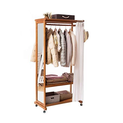 Indoor Full Body Floor Mirror Home Mobile Storage Mirrors Simple Wardrobe Solid Wood Coat Rack floor mirror (color : Brown(1))