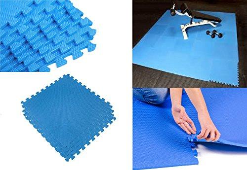 Indoor/Outdoor Eva Foam Interlocking Mats Floor Babies Play Puzzle Gym Exercise Office Eva Mat Wilsons Direct (Plain Blue Eva Mat, 20pc (80 Sq.Ft))