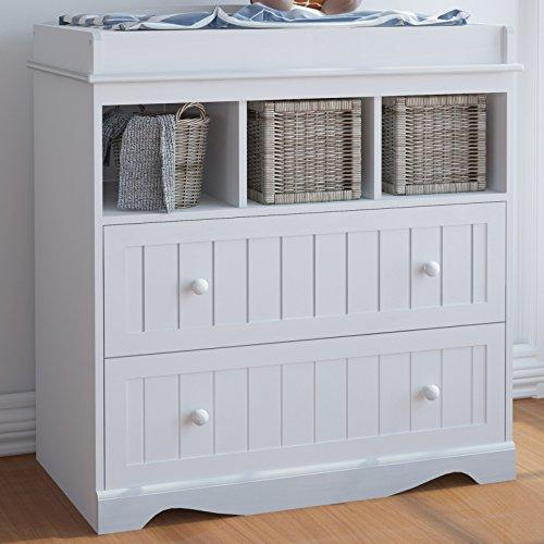 Infantastic Baby Changing Table Unit with Drawers (White) Nursery Furniture Storage Station