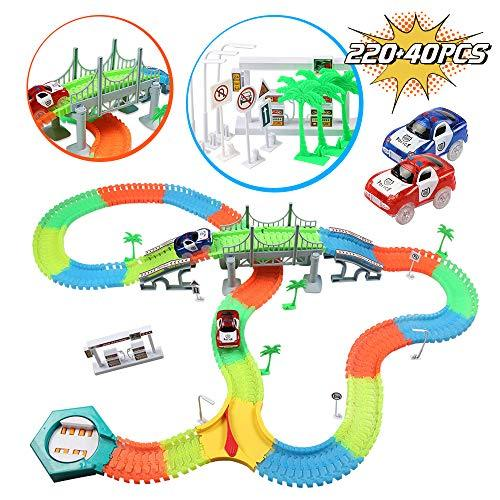 infinitoo Glow Tracks, Updated Version Twister Tracks, 220-Piece Neon-Powered Race Track + 2 Light Cars + 40 Accessories, Magic Flexible Racing Tracks Set, for Toy Toddlers, Kids, Boys Girls