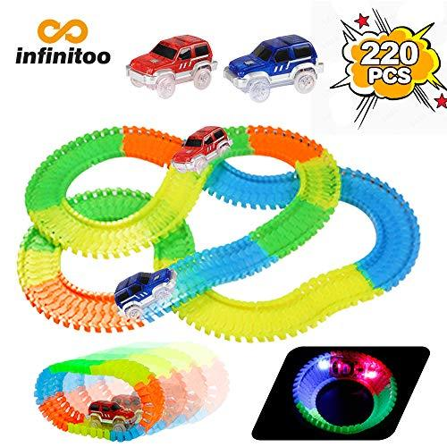 infinitoo magic Tracks Car Flexible Circuit Tracks Car Magic Light Piece Modular | 220 Items in Neon Race Track + 2 Cars + Sticker | Cool Gift For Children from 3 years