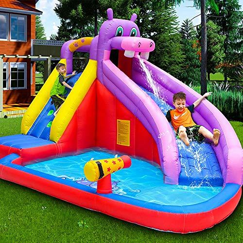inflatable toys Summer New Large Water Slide Inflatable Swimming Pool, Climbing Slide Castle Play Pool Foldable Tub Marine Ball Pool With Water Spray Gun -400 * 300 * 265cm A